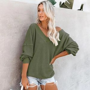 Sweaters - Olive Green V Neck Ribbed Sweater